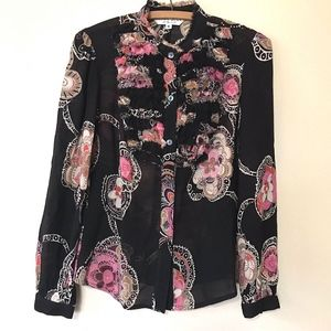 Trina Turk Floral Semi Sheer Button Up Blouse